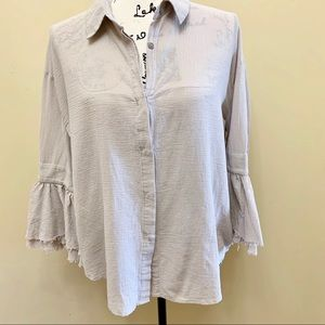 Moon River Button Down Bell Sleeves Blouse Sz S